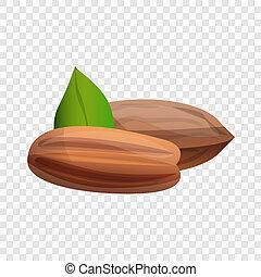 Pecan icon, cartoon style - Pecan icon. Cartoon of pecan...