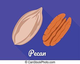 Pecan icon, flat style - Pecan icon. Flat illustration of...
