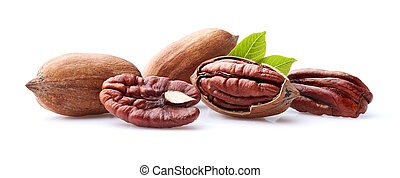 Pecan kernel nuts with leaves on white background