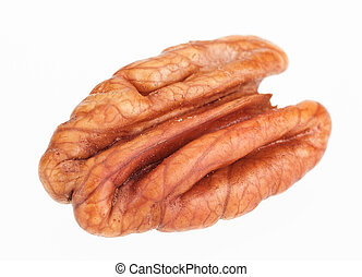 Pecan nut core isolated on white background, shot with remarkable high depth of field