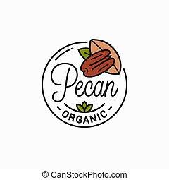 Pecan nut logo. Round linear of pecan on white - Pecan nut ...