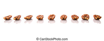 Pecan Nut - Pecan nut over white background