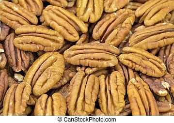 Pecan nut halves in closeup
