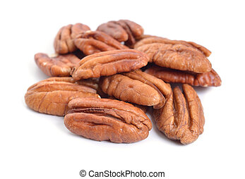 Pecan nuts pile on white background isolated