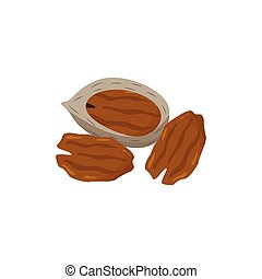 Pecan nuts small pile cartoon icon, flat vector illustration isolated on white background. Organic vegan protein food and healthy natural nut kernel snack.
