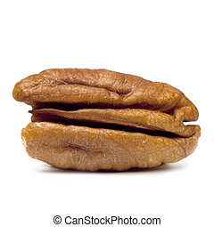 Pecan Over White - Macro of single pecan nut, isolated on ...
