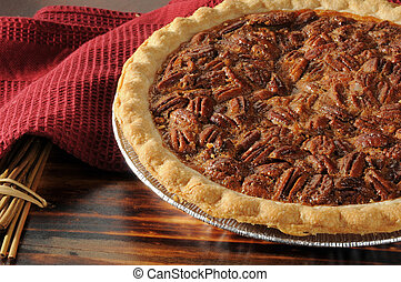 Pecan pie close up - Close up shot of a pecan pie cooling on...