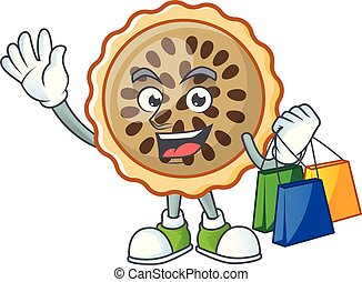 pecan pie shopping with cartoon character shape vector ...