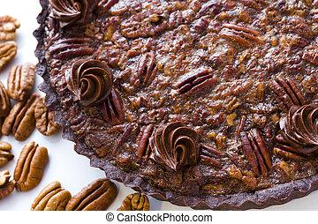 Pecan tart - Chocolate pecan tart freshly baked.