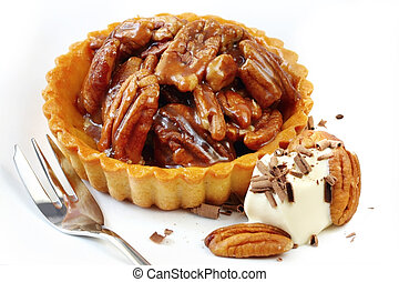Pecan Tart - Pecan tart, with cream and shaved chocolate. A ...