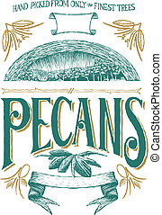 pecan, woodcut, etiqueta
