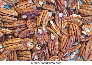 Pecans - Big bunch of shelled pecans nuts