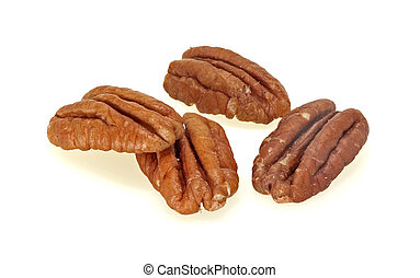 Group of pecans on a white background