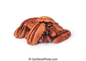 pecans - Pecan nuts on a white background