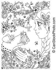 pecas, abrazar, anti, niña, garden., colorido, cartoon., ...
