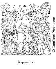 pecas, anti, niña, jardín, colorido, sentado, zorro, libro, ...