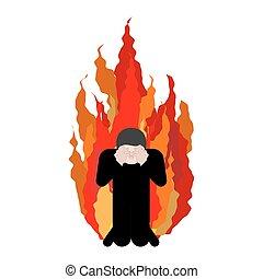 peccatore, su, fire., omg., coperchio, faccia, con, hands.,...