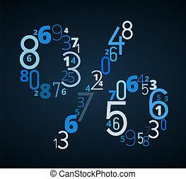 pecent, meldingsbord, vector, lettertype, van, getallen