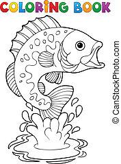 peces, 2, de agua dulce, libro colorear