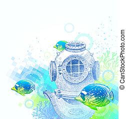 peces, buceo, casco, tropical