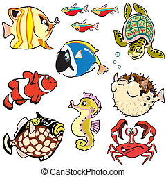 peces, conjunto, caricatura, mar