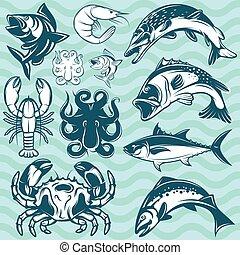 peces de agua dulce, conjunto, marina, marisco