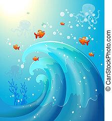 peces, mar, debajo