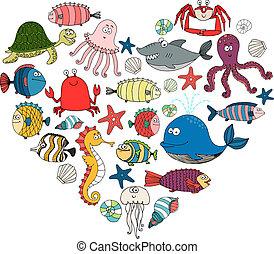 peces marinos, animales