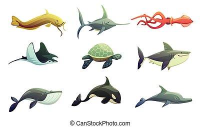 peces marinos, conjunto, animales, caricatura