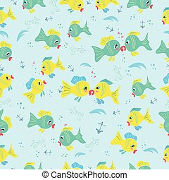 peces, patrón, seamless, caricatura