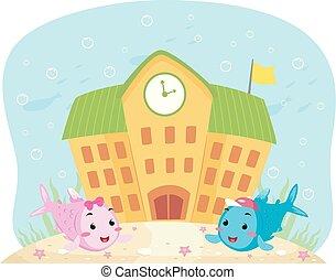 peces, submarino, escuela, ilustración