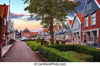 peche, amsterdam, village, panorama, romantique, pays-bas, volendam