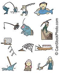 peche, dessin animé, icône