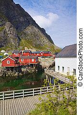peche, huttes, dans, norvège