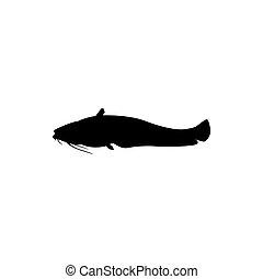 peche, poisson-chat, logo, icône