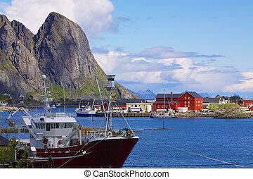 peche, port, dans, norvège