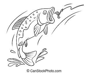 Poisson mouche tige peche truite mouche style fish - Dessin truite ...