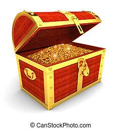 pecho de madera, con, monedas de oro