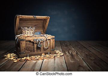 pecho de tesoros, oro, abierto, llenado, dorado, coins, jewelry.