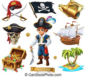 pecho de tesoros, vector, bandera, niño, island., piratas, ...