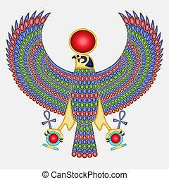 pectoral, halcón, egipcio