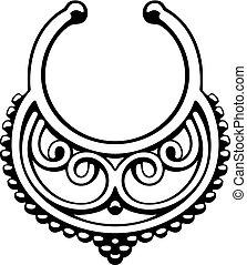pectoral, oro, decoración, reina, scythian, ¿?