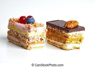 pedaço bolo, branca, isolado