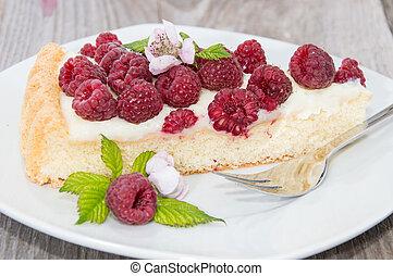 pedaço, de, framboesa, bolo
