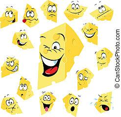 pedaço, de, queijo, caricatura