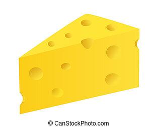 pedaço, de, queijo