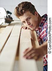 pedaço, prancha, carpinteiro, madeira, measuers
