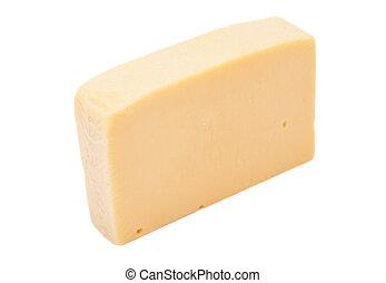 pedaço, queijo, isolado, branca