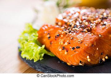 pedaço, salmão, fumado