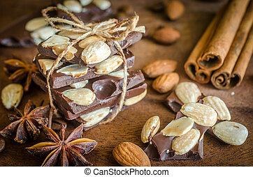pedaços chocolate, com, tempero, canela, e, anis
